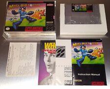 Mega Man Soccer ☆☆ 100% Complete w/ Acrylic Case, VG ☆☆ SNES Super Nintendo CIB