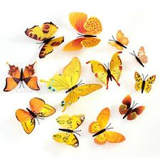 3D Butterfly 12Pcs Wall Stickers Room Decoration / Fridge Decor Yellow Color