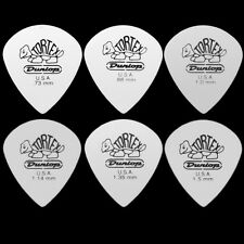 6 Dunlop Tortex Jazz III 3 White Guitar Picks - 1 Of Each Size