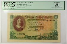 1954-59 27.2.1958 South Africa 5 Pounds Bank Note SCWPM# 97c PCGS VF-35 Apparent