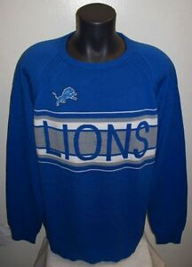 DETROIT LIONS NFL Pull Over Cotton Sweater MED, LG XL, 2X  BLUE GRAY & WHITE