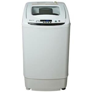 White Portable Compact Washer 0.9 Cu Ft W/ Durable Stainless Steel Interior Tub