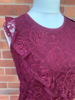 Peacocks Maroon Red Short Sleeve Blouse Lace Top 12 Ladies 100% Cotton