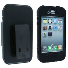 Black Hybrid Case Cover Holster/ Clip/ Stand with Logo Cutout for iPhone 4 / 4S