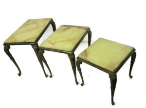 Set of 3 Nesting Stacking  Coffee Side Tables Marble Brass Hollywood regency