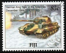 KING TIGER II German TANK (WWII 1944 Battle of the Bulge) Stamp (2005 Fiji)