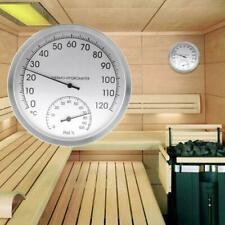 "5"" Thermometer Hygrometer Wall Hanging Stainless Steel Indoor Outdoor Sauna Room"