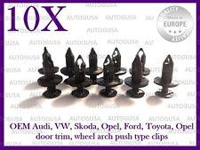 10X AUDI VW OPEL FORD SKODA BUMPER GRILL WHEEL ARCH DOOR TRIM PUSH TYPE CLIPS 10