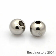 100pcs 304 Stainless Steel Metal Beads Round Loose Spacer Findings Tiny Size 4mm