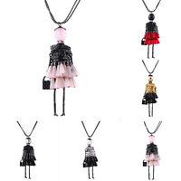 Women Crystal Tassel Doll Charm Pendant Necklace Handmade Sweater Chain