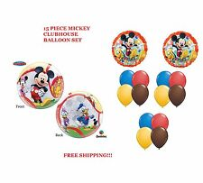 """(15) Piece Mickey Mouse Clubhouse 22""""Bubble balloon (2)18"""" Mylar&(12) Latex"""