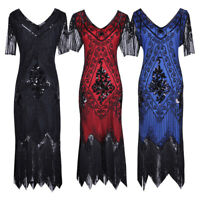 1920s Women Vintage Inspired Sequin Embellished Fringe Long Gatsby Flapper Dress