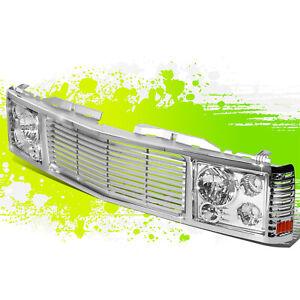 2x Chrome Headlight+Chrome Fence Rover Grille for Chevy/GMC C/K 1500-3500 94-00