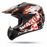 GS WAR Black Enduro Helm mit Visier ECE 2205 Motocross Cross Motorrad ATO Moto