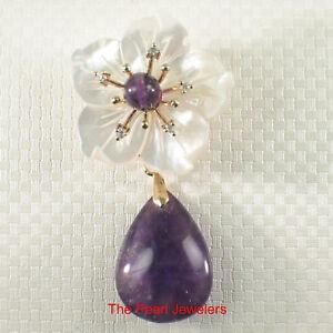 Handcrafted Elegant & Beautiful Amethyst Flower Design Brooch Pin Pendant TPJ