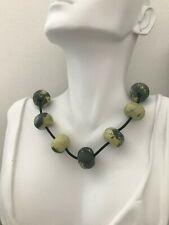 "Chunky Yellow Turquoise Jasper Stones Beads Designer Necklace 18"" 925 SS New"