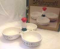 PFALTZGRAFF WINTERBERRY CHRISTMAS DIVIDED DISH W/ SCULPTED HANDLE CONDIMENT DIP