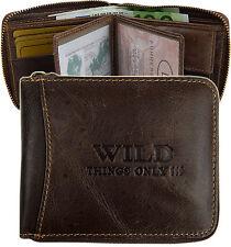 HERREN Geldbörse mit Reißverschluss  Portemonnaie Leder Quer Antik Braun 5267