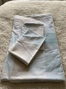 LAURA ASHLEY King Duvet Set Duck Egg Check X 2 Pillowcases USED Condition LOVE
