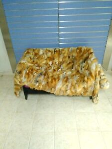 Luxury Red Fox Fur Throw Real Red Fox Fur Blanket / Bedspread