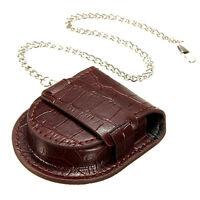 Vintage Leather Chain Pocket Watch Holder Storage Case Box Purse Coin Pouch Bag