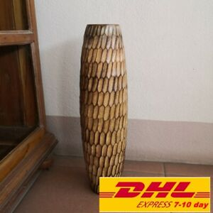 "Vase Hand Carved Handmade Home Decor Mango Wood Spiral Ribbed Design Tall 18"""