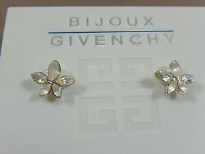 NWT GIVENCHY BIJOUX AB & FROSTED CRYSTAL FLOWER PIERCED STUD EARRINGS