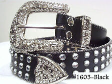 CHIC & SEXY WESTERN RODEO  Rhinestone Crystal BLACK BLING LARGE BELT Size Med.