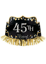 Add Any Age Black and Gold Birthday Crown
