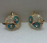 "1"" round gold and enamel Owl earrings with crystal eyes"