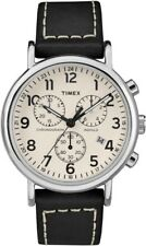 TW2R42800 Timex Weekender Chronograph Indiglo Black Leather Band Analog Watch