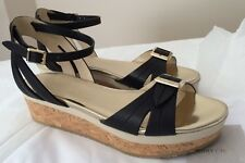 New Jimmy Choo 50MM Flatform Sandals Black Wedge Ankle Strap Flat Shoes 36 6