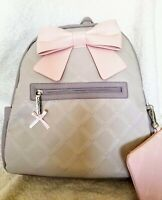 NWT Betsey Johnson Puffed Chevron Large BACKPACK Gray with PINK Bow Purse Bag