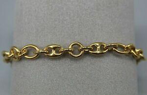 Bracelet en Plaqué Or Jaune Maille Grain de Café + Jaseron Long.de 17 à 19 cm