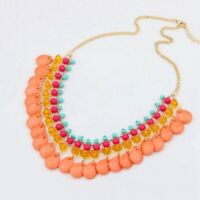 Bohemian Women Crystal Pendant Choker Chunky Beads Statement Necklace Jewelry
