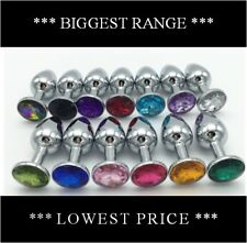 **13 Colors** Stainless Steel Anal Butt Plug Jewel Crystal Size S M L, 3 pcs Set