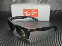 RAY BAN RB2132 622 New Wayfarer Black Rubber Crystal Green 58 Unisex Sunglasses
