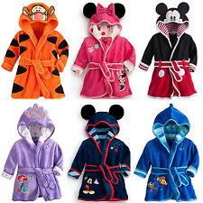 Baby Kinder Bademantel Kapuze Bathrobe Fleece Nachtwäsche Tier Pyjama Sleepwear