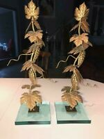 "Pair of Vintage Gold Metal Leaf & Glass Base Candlesticks~Signed~19.5""  HEAVY"