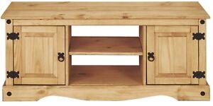 Corona 2 Door 1 Shelf Flat Screen TV Unit - Solid Pine, Rustic, Distressed