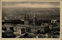 Prag Praha Tschechien s/w AK 1929 gelaufen Blick auf St. Veits Dom und die Burg