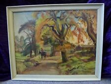 Large Vintage Oil landscape painting Artist Miles Sharp A RCA Expressionist