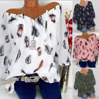 Plus Size Women's Casual T Shirt Long Sleeve Off Shoulder Loose Tops Blouse