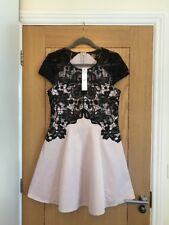 LIPSY Pale Pink & Black Sequin Lace Cap Sleeve Skater Dress Size 14 - NEW £65