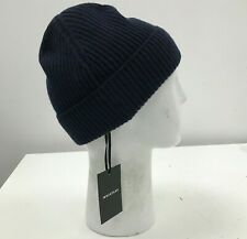 NEW WHISTLES Navy Blue Ribbed Knit Merino Wool Beanie Hat One Size 131315W