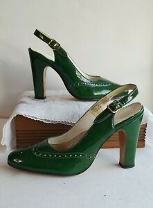 50s Adore's Green patent leather Sz 4 sling back peep toe Heel Pin up Rockabilly