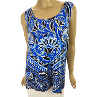 Travelers by Chico's Size 3 (16-18) Tank Top Blouse Blue White Black Sleeveless