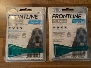 NEW FRONTLINE Spot On For Dogs Size M over 10up to 20kg x 2 Pipettes