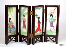 Vintage Japanese Table Screen GEISHA GIRLS BIRDS Hand Painted Stone Tiles & Wood