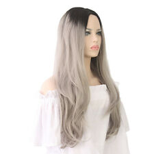 New Women Long Curly Synthetic Hair Black Ombre Silver Grey Cosplay Wig +wig cap